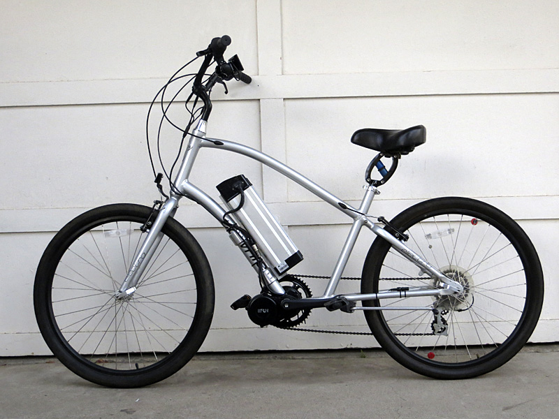 Mid-drive BBS02 electric bicycle kit on the Electra Townie motored bike