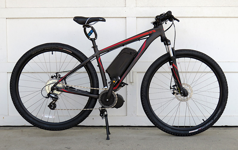 Mid-drive BBS02 electric bicycle kit on the Specialized HardRock motored bike