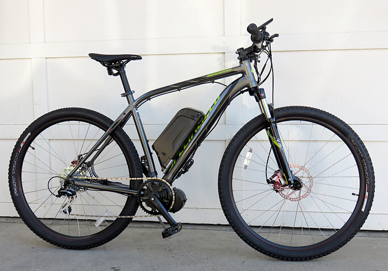 Mid-drive BBS02 electric bicycle kit on the Specialized Rock Hopper motored bike